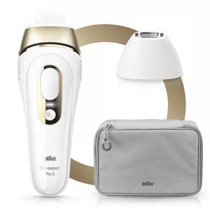 Braun Silk·Expert Pro 5 PL5117 IPL-Haarentfernungsgerät der neuesten Generation, dauerhafte Haarentfernung, Weiß & Gold