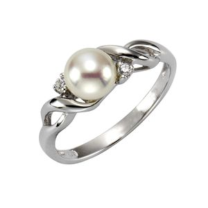 Zeeme Pearls Ring 925/- Sterling Silber weiß 054 (17,2) Perle weiß 379270402