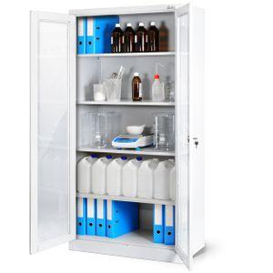 Aktenschrank Medizinschrank Büroschrank Flügeltürschrank Glasvitrine 4 Fachböden Stahl Abschließbar 185 cm x 90 cm x 40 cm (weiß)