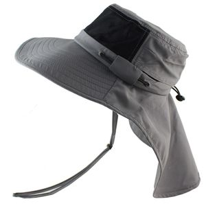 Sommer Sonnenhut Männer Frauen Boonie Hut mit Nackenschutz im Freien UV-Schutz -(Grau,)