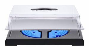 Buffet-Vitrine Kühlplatte Eiskalte-Platte 39,3x29,3x11cm mit zwei Kühlakkus und abnehmbarer Haube Schwarz