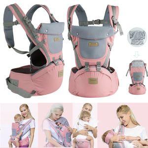 9 in1 Ergonomische Babytrage Kindertrage Bauchtrage Rückentrage 4 Tragpositionen für Neugeborene Rosa