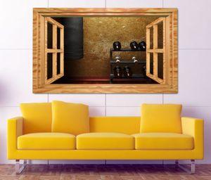 3D Wandtattoo Fitness Hanteln Boxsack retro Fenster Wandbild Tattoo Wohnzimmer Wand Aufkleber 11L1816, Wandbild Größe F:ca. 140cmx82cm