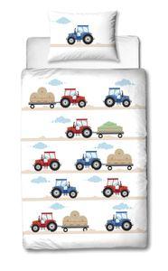 TRAUMHELDEN Traktor Baby-Bettwäsche 40x60 cm + 100x135 cm · Kinder-Bettwäsche in Biber / Flanell - 100% Baumwolle