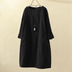 Frauen Vintage Taschen Cord Solid einfarbig Langarm lose Freizeitkleid Größe:XXXL,Farbe:Schwarz