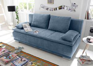 "Couch ""Luigi"" Schlafcouch Bettsofa Schlafsofa Sofabett Funktionssofa ausziehbar denim blau 208 cm"