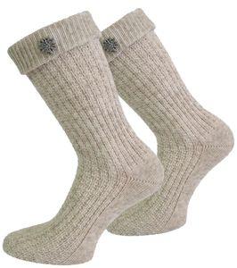 Trachten-Socken mit Edelweiß-Pin - Naturmelange - 39-42