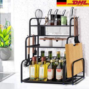 Gewürzregal Küchenregal Gewürz-Ständer aus Edelstahl mit 3 Etagen für die Küche