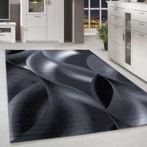 Kurzflor Teppich Schattenmuster Wohnzimmerteppich Hellgrau Schwarz Meliert, Grösse:200x290 cm