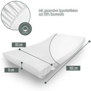 ALCUBE Kindermatratze für Kinderbett 80x160 cm mit Spannbettlaken - Punktelastische Kaltschaummatratze