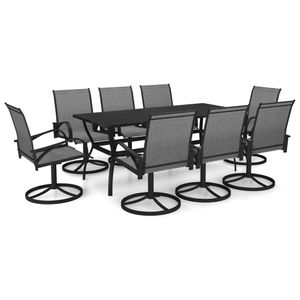 9-teiliges Outdoor-Essgarnitur Garten-Essgruppe Sitzgruppe Tisch + stuhl Textilene und Stahl