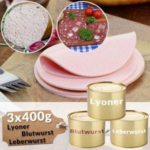 Dosenwurst Mischkarton Leberwurst Blutwurst Lyoner Probierpaket Wurstkonserven Fleischwurst Dosen, Menge:1200g