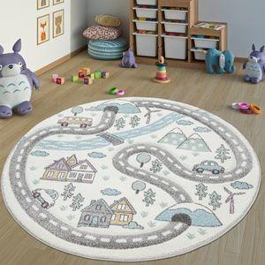 Kinderteppich Kinderzimmer Teppich Rund Kurzflor Straßen Design In Pastell Creme, Grösse:Ø 160 cm Rund