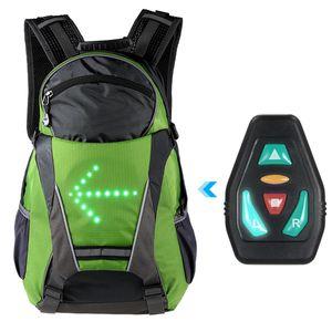 Fahrradrucksäcke, 18L Fahrrad Rucksack mit LED-Signalanzeige, Drahtlose Fernbedienung Sicherheit Blinker Licht, Grün