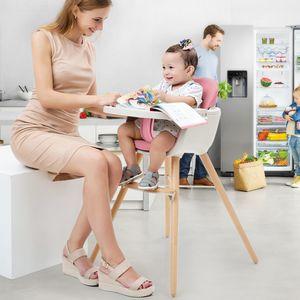 Babyhochstuhl Holz,Kombihochstuhl Baby, Holzhochstuhl Kinder mit einstellbares Esstischchen Rosa