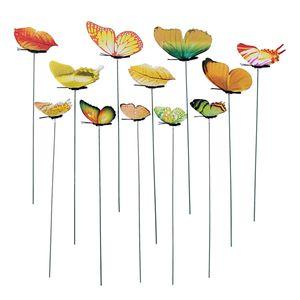 12er Gartenstecker Schmetterlinge auf  Gartenstecker für Garten Balkon Deko Farbe Gelb