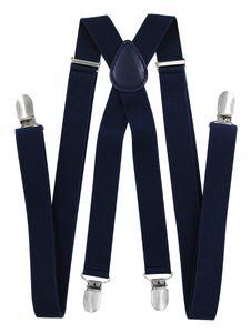 axy® Dunkelblau Herren Hosenträger 2,5cm breite mit 4 Stabile Clips X-Form länge verstellbar- Hochzeit-Business Outfit