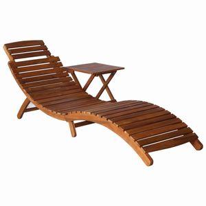 Huicheng Klappbar Sonnenliege 190 x 60 x 51 cm mit Teetisch 40 x 40 x 40 cm Holzliege Gartenliege Massivholz Akazie Braun