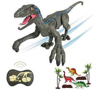 RC Velociraptor Spielzeug 2.4G RC Dinosaurier Spielzeug Intelligentes Realistisches Gehen Tier Kindergeschenk Entdeckerspielzeuge