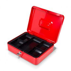 Geldkassette rot mit Münzeinsatz + 2 Schlüssel - 20 x 16 x 9 cm