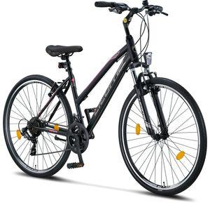 Licorne Bike Life-L-V Premium Trekking Bike in 28 Zoll - Fahrrad für Jungen, Mädchen, Damen und Herren - Shimano 21 Gang-Schaltung - Mountainbike - Crossbike, Farbe: Schwarz/Rosa, Zoll:28.00