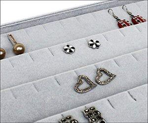 Vorlagebrett Schmuckkasten Schmucklade Schmuckdisplay Schaukasten für Ohrstecker Ohrringe grau