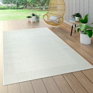 In- & Outdoor-Teppich Mit Bordüre, Für Balkon Und Terrasse, Flachgewebe In Weiß, Grösse:120x170 cm