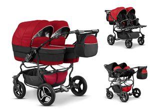 Zwillingskinderwagen Duet Lux 3 in 1 (D-14) - Kinderwagen, Sportsitze und Autositze