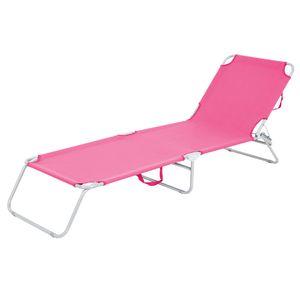 ECD Germany Sonnenliege Gartenliege 200x56x26cm, Pink, Aluminiumrahmen, Klappbare Strandliege, Liegestuhl mit verstellbarer Rückenlehne, Relaxliege Dreibeinliege für den Garten, Terrasse und Balkon