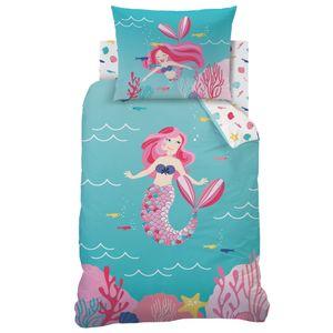 Meerjungfrau Bettwäsche Set 70x90 + 140x200 cm · Meer & Fische · Renforce Bettwäsche für Kinder / Mädchen - 100% Baumwolle
