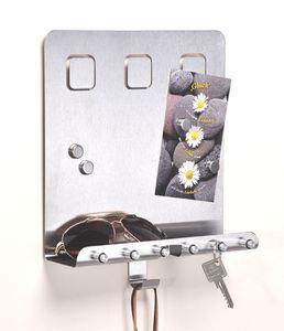 Schlüsselleiste Schlüsselbrett Memoboard aus Edelstahl mit 4 Magneten 98070
