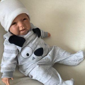 Baby Jungen Mädchen Set 2-teilig Strampler + Shirt Gr. 62 Hund grau weiß