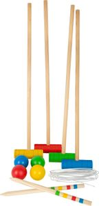small foot 11879 Krocket Quartett aus Holz, Klassiker für den Outdoorbereich, Spielzeug, Mehrfarbig, ab 3 Jahren