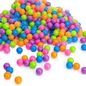 LittleTom 50 Bällebadbälle Ø 5,5cm Bälle-Set für Bällebad bunte Spielbälle Kinder-Bälle für Bällebad-Pool Plastikbälle Babybälle | 5 gemischte Pastell-Farben | e Qualität