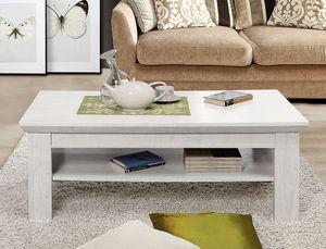 Couchtisch Kasimir 9 Pinie weiß 120x60x45 cm Sofatisch Beistelltisch