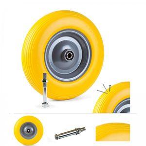 Grafner® Schubkarrenrad 4.00-8 PolyurethanVollgummibereifung FlatFree Metallfelge mit Achse Schubkarrenreife