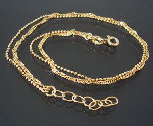 Fußkette Singapur-und Kugelkette 925 Silber 24-27cm gold 14830G-27