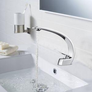 Auralum Wasserhahn Bad Chrom Waschbecken Waschtischarmatur Einhebelmischer Badarmatur Mischbatterie Waschbeckenarmatur für Badezimmer
