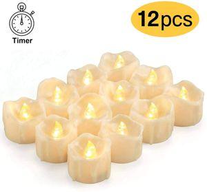 LED Kerzen mit Timer, 12 Stück LED Teelichter Flammenlose Kerzen Flackernd echtwachs Elektrische Kerzen mit CR2032 Batterien