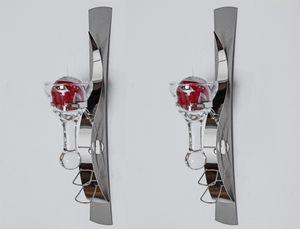 2er Set Wandkerzenhalter, Wanddeko SPIRIT H. 42cm silber Metall + Glas Formano