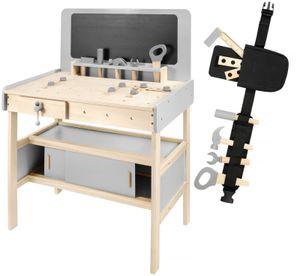 Meister Werkbank mit Werkzeug, Zubehör und Kreidetafel (48 Teile) aus Holz für Kleinkinder - Inklusive Werkzeuggürtel