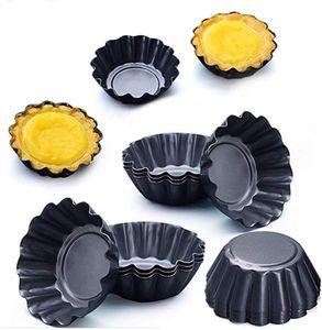 12 Stücke Torteletts Törtchenformen Tartelette Förmchen Mini Tarteform Kohlenstoffstahl Eierkuchenform(schwarz),klein