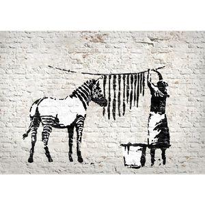 Washing Zebra Banksy 9388a RUNA Washing Zebra Banksy VLIES FOTOTAPETE XXL DEKORATION TAPETE− WANDDEKO 308 x 220 cm