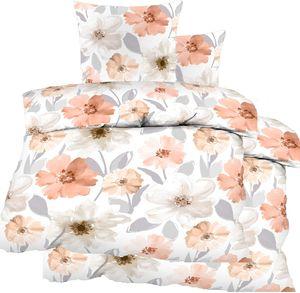 4-tlg. Biber Winter Bettwäsche 2x (135 x 200 + 80x80 cm), 100% Baumwolle, multicolor Blüten
