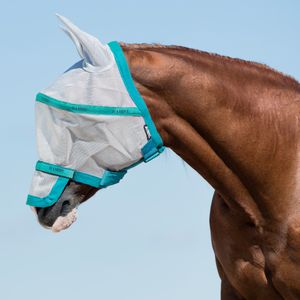 Horseware Rambo Plus Fly Mask Untreated - Silver/Electric Blue, Größe:L