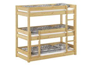 Dreier-Etagenbett für Erwachsene Stockbett für drei Personen 90x200 Kiefer Massivholz V-60.03-09, Ausstattung:Rollrost inkl.