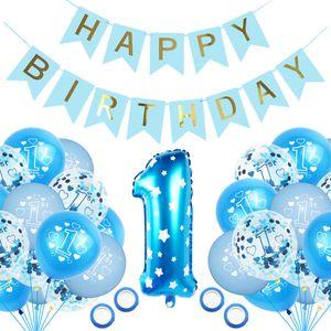 VADOOLL  geburtstagsdeko 1 Jahr Junge,1 Jahr Luftballons,Kindergeburtstag deko,erste Geburtstag deko Junge,Happy Birthday Banner,1. Geburtstag Dekorationen