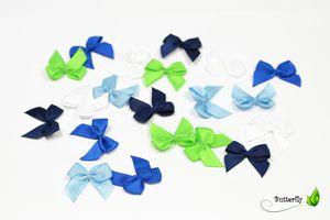 Satinschleifen 25mm, 20 Stück, Farbe:MIX-BG / blau königsblau hellblau hellgrün weiß