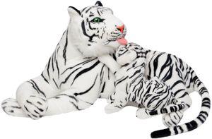 BRUBAKER Stofftier Plüschtier Tiger mit Baby weiß 100 cm