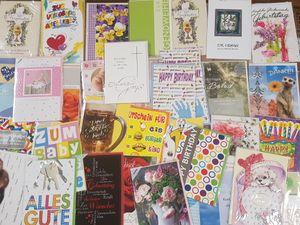 50 x Glückwunschkarte mit Briefumschlag verschiedene Anlässe ( Hochzeit , Geburtstag , Kommunion , Konfirmation , Prüfung , Führerschein , Geburt , Gutschein , Abschied usw. ) verschiedene Motive UVP 1,29€ - 2,49€